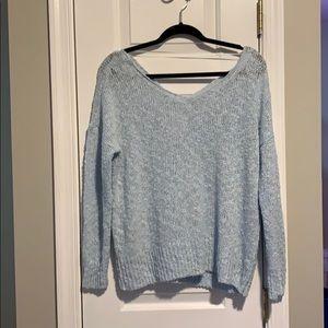 Light Blue Sweater w/ Criss Cross Back Detail